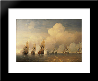 Battle Of Krasnaya Gorka:  Modern Black Framed Art Print by Alexey Bogolyubov