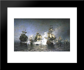 Battle Of Osel Island:  Modern Black Framed Art Print by Alexey Bogolyubov