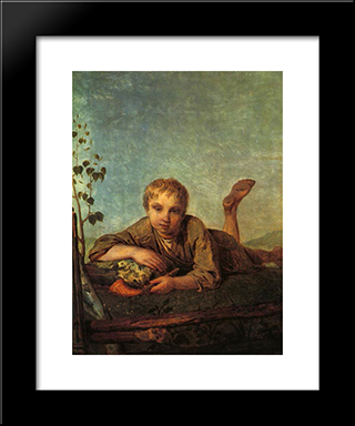 A Herd-Boy With A Pipe:  Modern Black Framed Art Print by Alexey Venetsianov