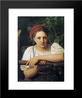 A Peasant Girl From Tver:  Modern Black Framed Art Print by Alexey Venetsianov