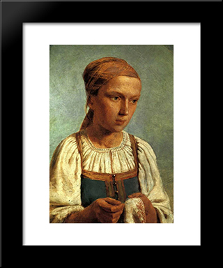 A Peasant Girl With Embroidery:  Modern Black Framed Art Print by Alexey Venetsianov