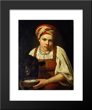 A Peasant Girl With A Calf:  Modern Black Framed Art Print by Alexey Venetsianov