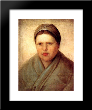 A Peasant Woman:  Modern Black Framed Art Print by Alexey Venetsianov