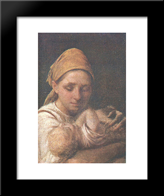 A Peasant Woman With A Child:  Modern Black Framed Art Print by Alexey Venetsianov
