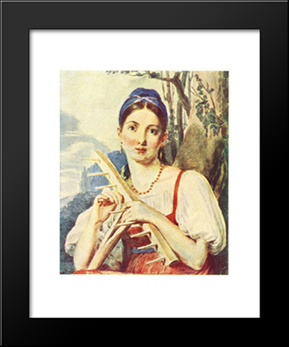 A Peasant Woman With A Rake:  Modern Black Framed Art Print by Alexey Venetsianov