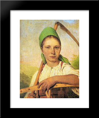 A Peasant Woman With Scythe And Rake:  Modern Black Framed Art Print by Alexey Venetsianov