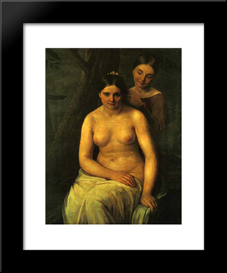 Bather:  Modern Black Framed Art Print by Alexey Venetsianov