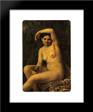 Bather With A Bowl:  Modern Black Framed Art Print by Alexey Venetsianov