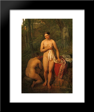 Bathers:  Modern Black Framed Art Print by Alexey Venetsianov