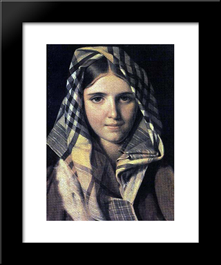 Checkered Shawl:  Modern Black Framed Art Print by Alexey Venetsianov