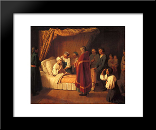 Communion Of Dying:  Modern Black Framed Art Print by Alexey Venetsianov