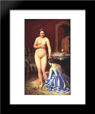 Diana Dressing:  Modern Black Framed Art Print by Alexey Venetsianov