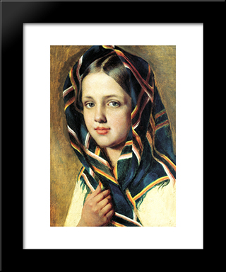 Girl In A Kerchief:  Modern Black Framed Art Print by Alexey Venetsianov