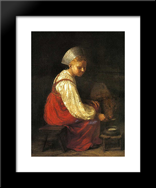 Girl With Culf:  Modern Black Framed Art Print by Alexey Venetsianov