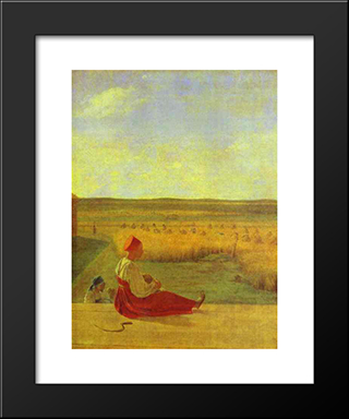 Harvesting. Summer:  Modern Black Framed Art Print by Alexey Venetsianov