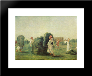Haymaking:  Modern Black Framed Art Print by Alexey Venetsianov