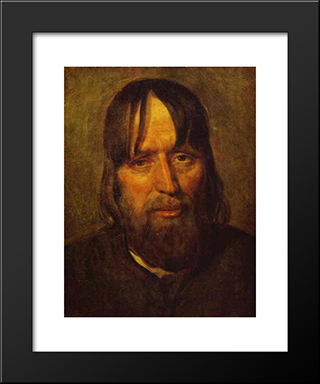 Head Of An Old Peasant:  Modern Black Framed Art Print by Alexey Venetsianov