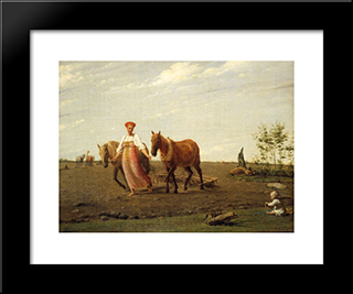 In The Fields. Spring:  Modern Black Framed Art Print by Alexey Venetsianov