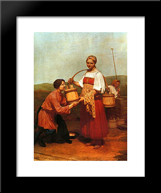Meeting At The Well:  Modern Black Framed Art Print by Alexey Venetsianov