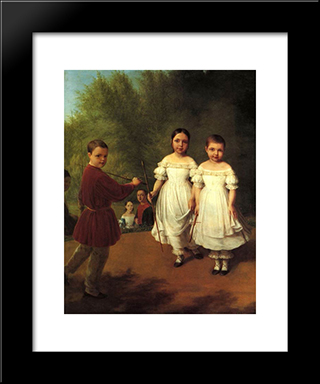 Panaevs Children:  Modern Black Framed Art Print by Alexey Venetsianov