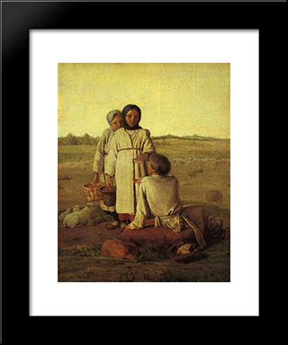 Peasant Children In The Field:  Modern Black Framed Art Print by Alexey Venetsianov