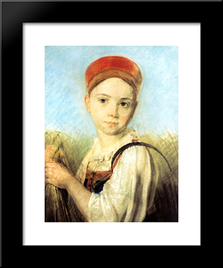 Peasant Girl With A Sickle In The Rye:  Modern Black Framed Art Print by Alexey Venetsianov
