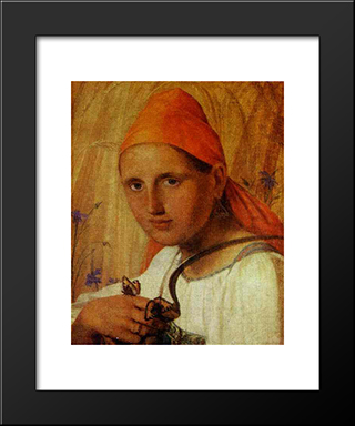 Peasant Girl With Butterflies:  Modern Black Framed Art Print by Alexey Venetsianov
