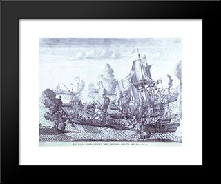 Battle Of Gangut June 27, 1714:  Modern Black Framed Art Print by Alexey Zubov