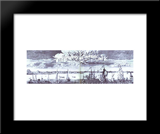 Panoramic View Of St. Petersburg:  Modern Black Framed Art Print by Alexey Zubov