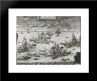 The Battle Of Grengam, June 27 1720:  Modern Black Framed Art Print by Alexey Zubov
