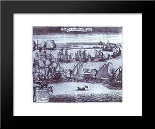 The Bringing Of 4 Swedish Frigates In St. Petersburg After The Victory In The Battle Of Grengam September 8 1720:  Modern Black Framed Art Print by Alexey Zubov