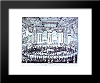 The Wedding Feast Of Peter I And Catherine In The Winter Palace Of Peter I In St. Petersburg On February 19, 1712:  Modern Black Framed Art Print by Alexey Zubov