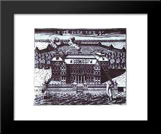 View Of A. Menshikov'S Palace On Vasilievsky Island:  Modern Black Framed Art Print by Alexey Zubov