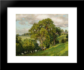 Ash Trees At Cropthorne, Worcestershire:  Modern Black Framed Art Print by Alfred Parsons