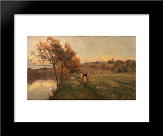 Meadows By The Avon:  Modern Black Framed Art Print by Alfred Parsons