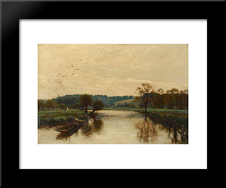 Morning On The Kennet:  Modern Black Framed Art Print by Alfred Parsons
