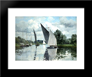 On The Bure At Wroxham:  Modern Black Framed Art Print by Alfred Parsons