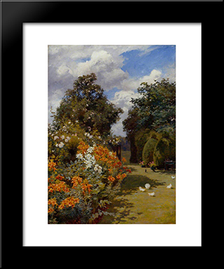 Orange Lilies, Broadway, Worcestershire:  Modern Black Framed Art Print by Alfred Parsons