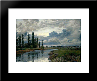 Poplars In The Thames Valley:  Modern Black Framed Art Print by Alfred Parsons