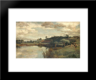 River Scene With A Shepherd And Sheep By A Ferry:  Modern Black Framed Art Print by Alfred Parsons