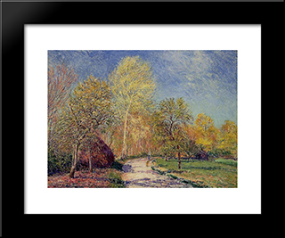 A May Morning In Moret:  Modern Black Framed Art Print by Alfred Sisley