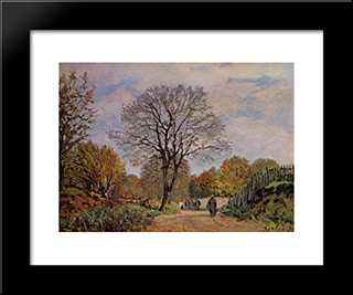 A Road In Seine Et Marne:  Modern Black Framed Art Print by Alfred Sisley