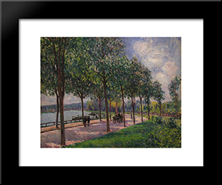Alley Of Chestnut Trees:  Modern Black Framed Art Print by Alfred Sisley
