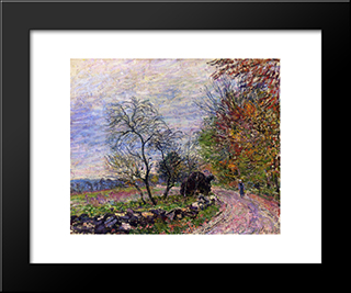 Along The Woods In Autumn:  Modern Black Framed Art Print by Alfred Sisley