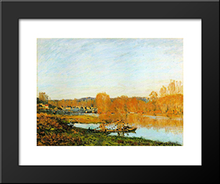 Autumn Banks Of The Seine Near Bougival:  Modern Black Framed Art Print by Alfred Sisley