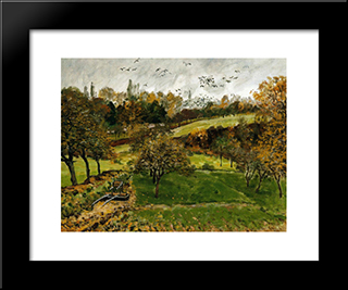Autumn Landscape, Louveciennnes:  Modern Black Framed Art Print by Alfred Sisley