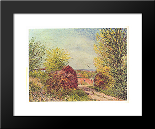 Away In The Spring Veneux Nadon:  Modern Black Framed Art Print by Alfred Sisley