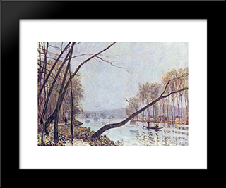 Bank, In The Autumn: Custom Black Wood Framed Art Print by Alfred Sisley