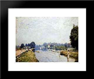 Banks Of Rivers (The Thames Hampton Court, First Week Of October): Custom Black Wood Framed Art Print by Alfred Sisley