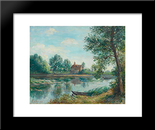 Banks Of The Loing At Saint Mammes: Custom Black Wood Framed Art Print by Alfred Sisley